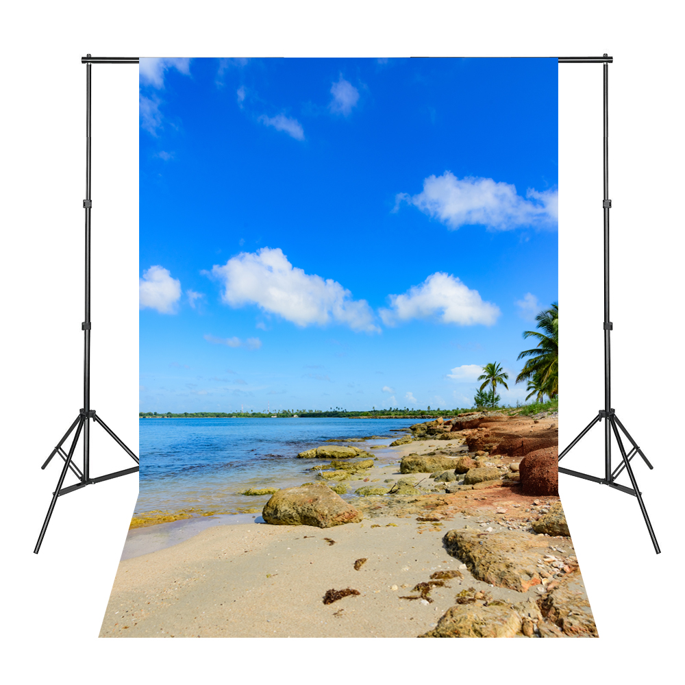 Blue Sky White Clouds Beach Coconut Tree Backdrops Fotografia Fundo Fotografico Natal Background Photograph