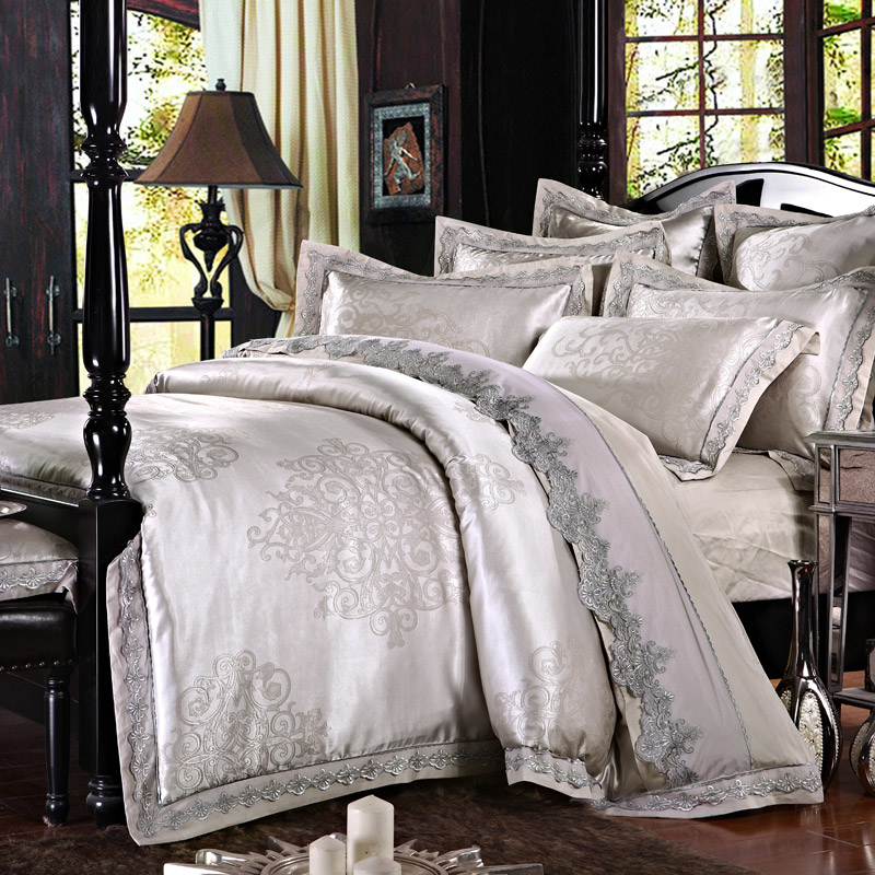 No.11-21 Luxury jacquard embroidery bedding set Lace queen King size bed sheet cotton satin bed linen double duvet covers 46pcs