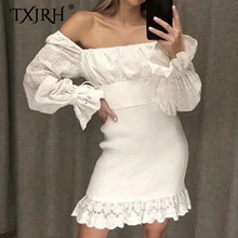 TXJRH Sweet Crochet Lace Hollow Out Palace Princess Long Flare Sleeve Package Hips Mini Short Trumpet Mermaid Dress 2 Colors