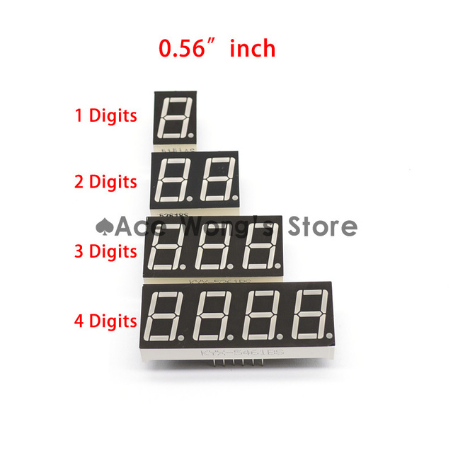 "Big Sale!!! 20pcs 1 / 2 / 3 / 4 bit (5pcs per size) Common Anode Positive Digital Tube 0.56"" 0.56in. Red LED Display 7 Segment"
