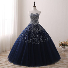 Vestido Navy Blue Quinceanera Dresses for 15 years Backless Beaded Tulle Ball Gown Vestidos De Anos Formal Party