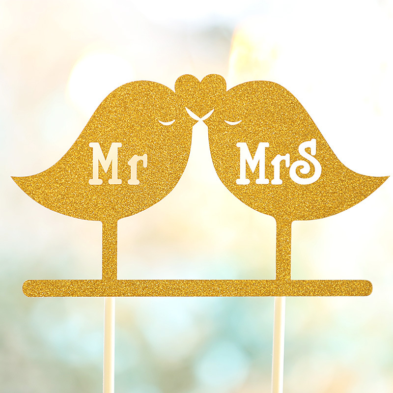 Love Birds Wedding Cake Topper Mr Mrs Cake Toppers Cupcakes flags ...