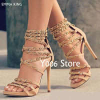 Luxury Open Toe High Heels with Gold Chain Summer Sandals Fashion Shoes Woman New Sandals Women Trendy Sandalia Feminine Heels