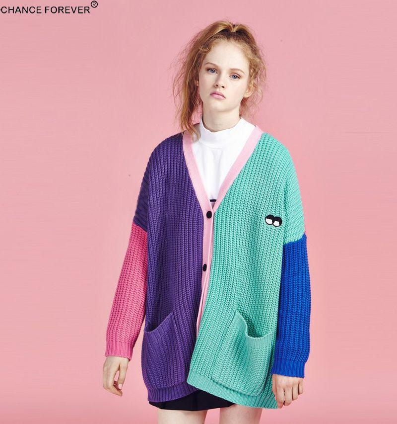 b4fdf5fc1d34 Vintage lazy oaf cropped sweater Cardigans rainbow block patchwork Button  Folk Embroidered cardigan vintage knitted Winter-in Cardigans from Women s  ...