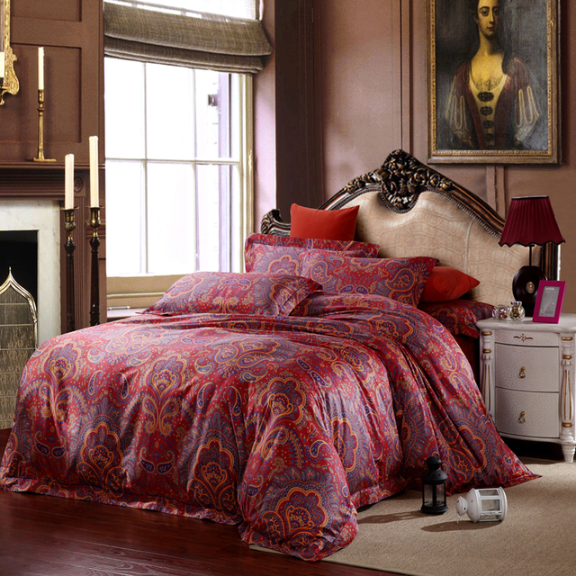 Egyptian Cotton Red Paisley Bedding Sets Luxury King Size Queen