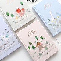 1 Pc Lovely Animal 2018 Diary Notebook Program Agenda Line Point Grid Paper Notebook And Journal