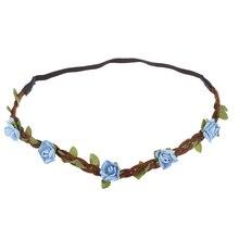 Цветок Женщины Hairband Повязка Фестиваль Свадьба небесно-голубой