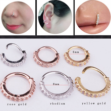 Sellsets 2018 New 1piece 6&8mm rose & yellow gold color circle cz daith earring nose ring lip piercing septum ring