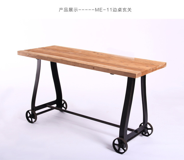 Foreign Industrial Style Iron Wood Furniture US French Country Table  Structure Iron Wood Side Tables Console