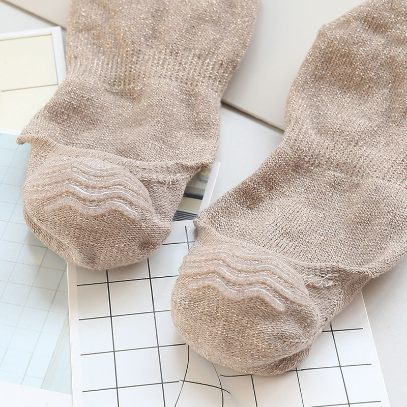 10 pieces = 5 pairs Summer new gold and silver silk shallow mouth socks socks female thin solid color,women sock slippers