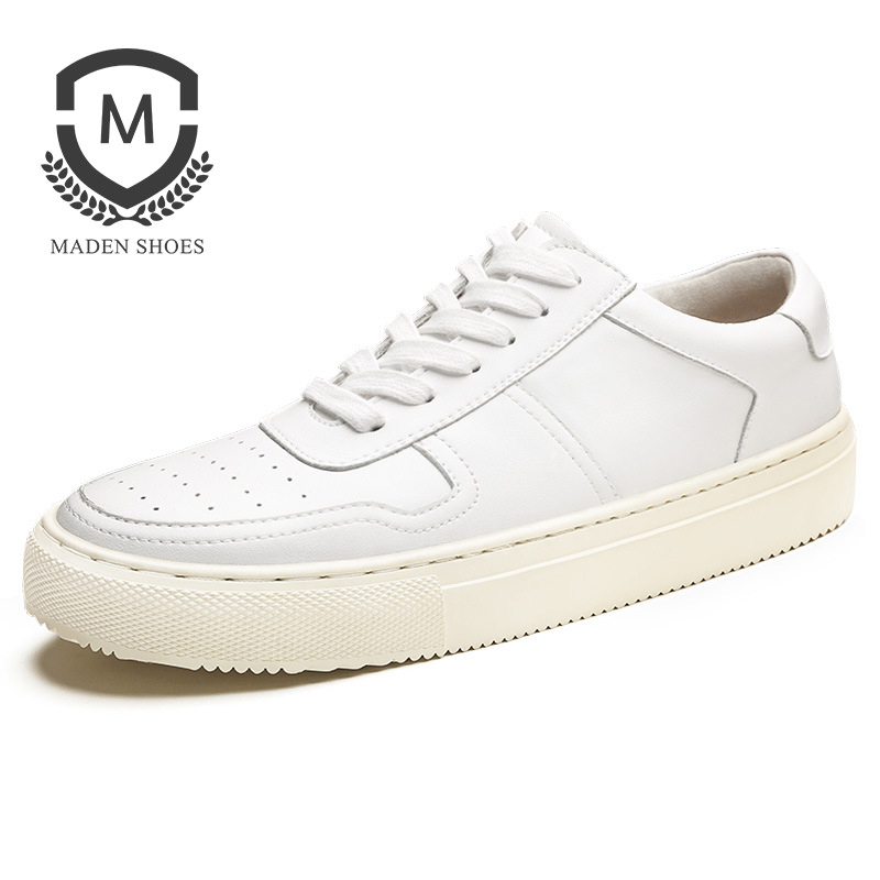 Maden Casual Sporty Men Sneakers White Black Korean Style Leather Anti-slip Wearable Simple Shoes Lace-up Low-top Solid Color