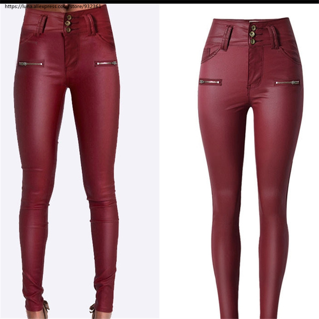 72c489130bf Autumn Winter Women High Wasit Buttons plus size Skinny Pants Red PU  Trousers woman clothes 2618