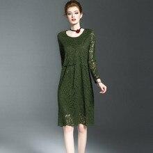 Sonhos mulheres fairy dress 2017 primavera outono novo estilo longo sólida de manga comprida vestidos de roupas tamanho grande vestido de renda verde festa(China (Mainland))