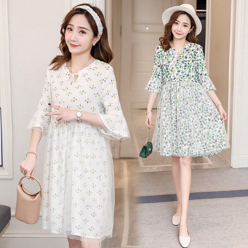 4 Color Floral Maternity Dress Bohemian Pregnancy Clothes Summer Cotton Fashion Maternity Clothing Of Pregnant Women