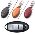 New 3 Buttons PU Leather Remote Key Chain Holder Case Cover For Nissan Series D