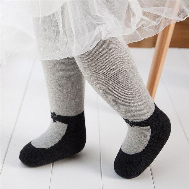 e7e08c275 Outono Inverno crianças Engrossar Quente Meias Bebê Meninas Falso Sapato  projeto arco Meia-calça