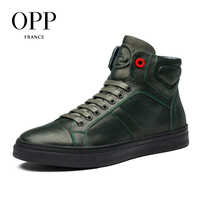 OPP 2017 Genuine Leather Men boots Men Shoes White Winter Boots Comfortable Men Shoes Ankle Boots for men High Top Boots New 4