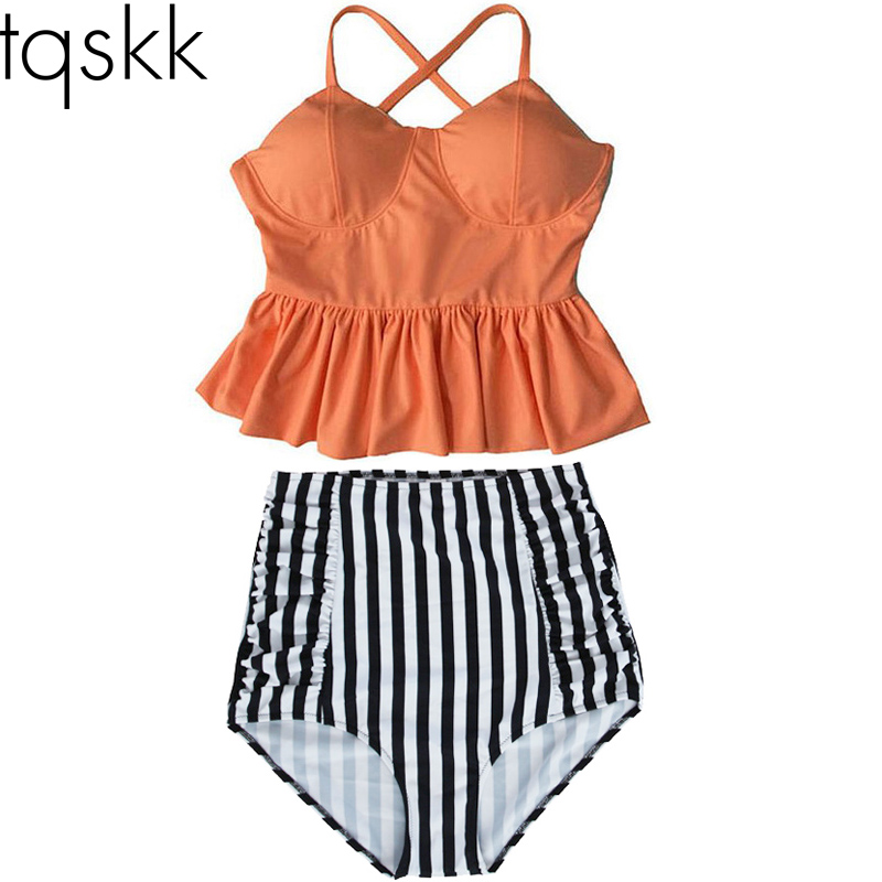TQSKK 2017 New Bikinis Women High Waist Swimsuit Push Up Bikini Set Swimwear Female Halter Top Beach Wear Bathing Suits Dress XL new arrival bikinis women 2017 push up padded bra beach solid low waist bikini set bathing suit swimsuit swimwear high quality