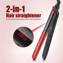 Big discount Red LCD Display 2-in-1 ceramic coating Hair straightener comb hair Curler beauty care Iron herramientas electricas Free Shipping