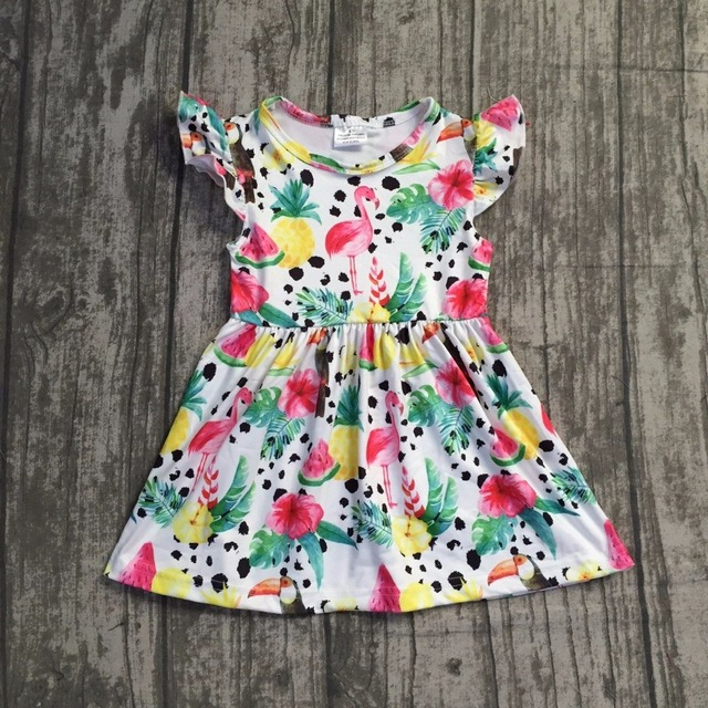 9b0e3b288 baby girls summer dress clothing girls flamingo dress children girls  watermelon pineapple floral dress milk silk boutique dress