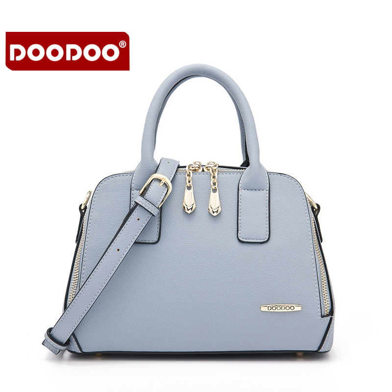 DOODOO Women brand handbag high quality pu leather zipper bag for women Fresh lady Large capacity shopping bags Fashion hand bag high quality pu fashion women handbag designers brand woman shoulder bags leather embossed bag handbag hot handbag for women