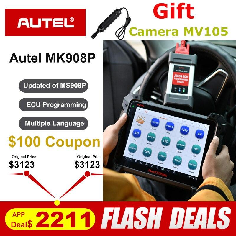Autel MaxiCom MK908P OBDII ECU Tester di Programmazione OBD2 Auto Diagnostico Scanner Tool J2534 Programmatore PK Maxisys Elite MS908P Pro