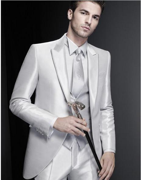 US $63.66 15% di SCONTO|Nuovo Arrivo su ordine grigio argento A Buon Mercato Abito Da Sposa Uomo Vestito di smoking giacca argenteo degli uomini del