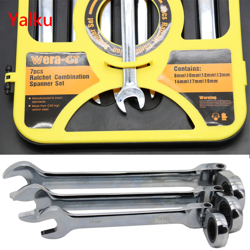 Multi-size Ratchet Wrench Universal 8-19mm Power Drill Socket Wrench 7pcs Ratchet Wrench Ratchet handle Wrench Spanner Yalku yalku adjustable wrench ratchet spanner tool kit high quality universal torque wrench ratchet spanner set 12pcs 8 19mm