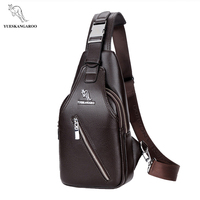 YUESKANGAROO Leather Business Messenger Bags Casual Crossbody Bag High Quality Double Zipper Chest Pack Male Vintage