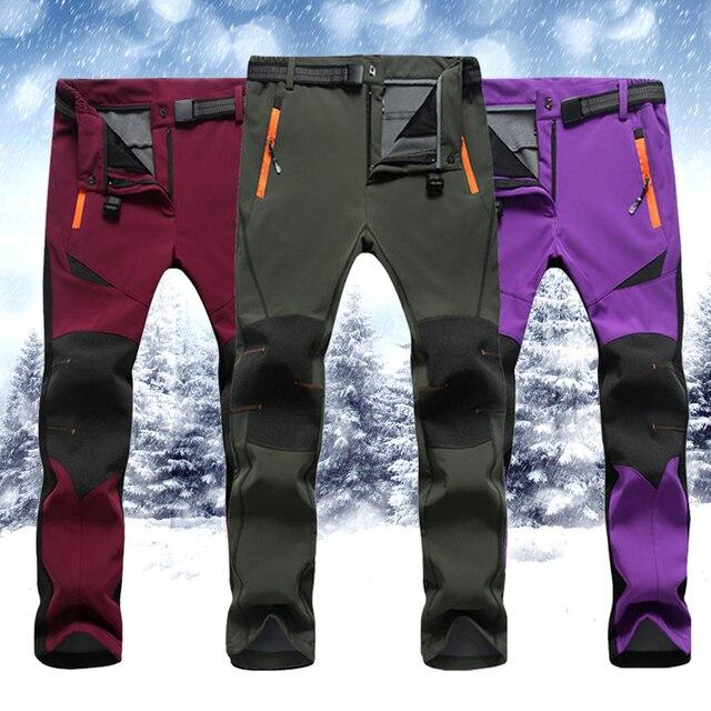 2017 Nueva Marca de Ropa de Invierno Pantalones de Hombre Caliente Suave Polar Cortaviento Impermeable Antidesgaste de Montaña Caliente Pantalones Masculinos Y2228