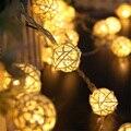 Tanbaby Pelota de Ratán Luces Solares de la Secuencia 5 M 20 LED Blanco Cálido RGB Luces de Hadas de Cuerda Linterna, ambiente de Iluminación de Navidad