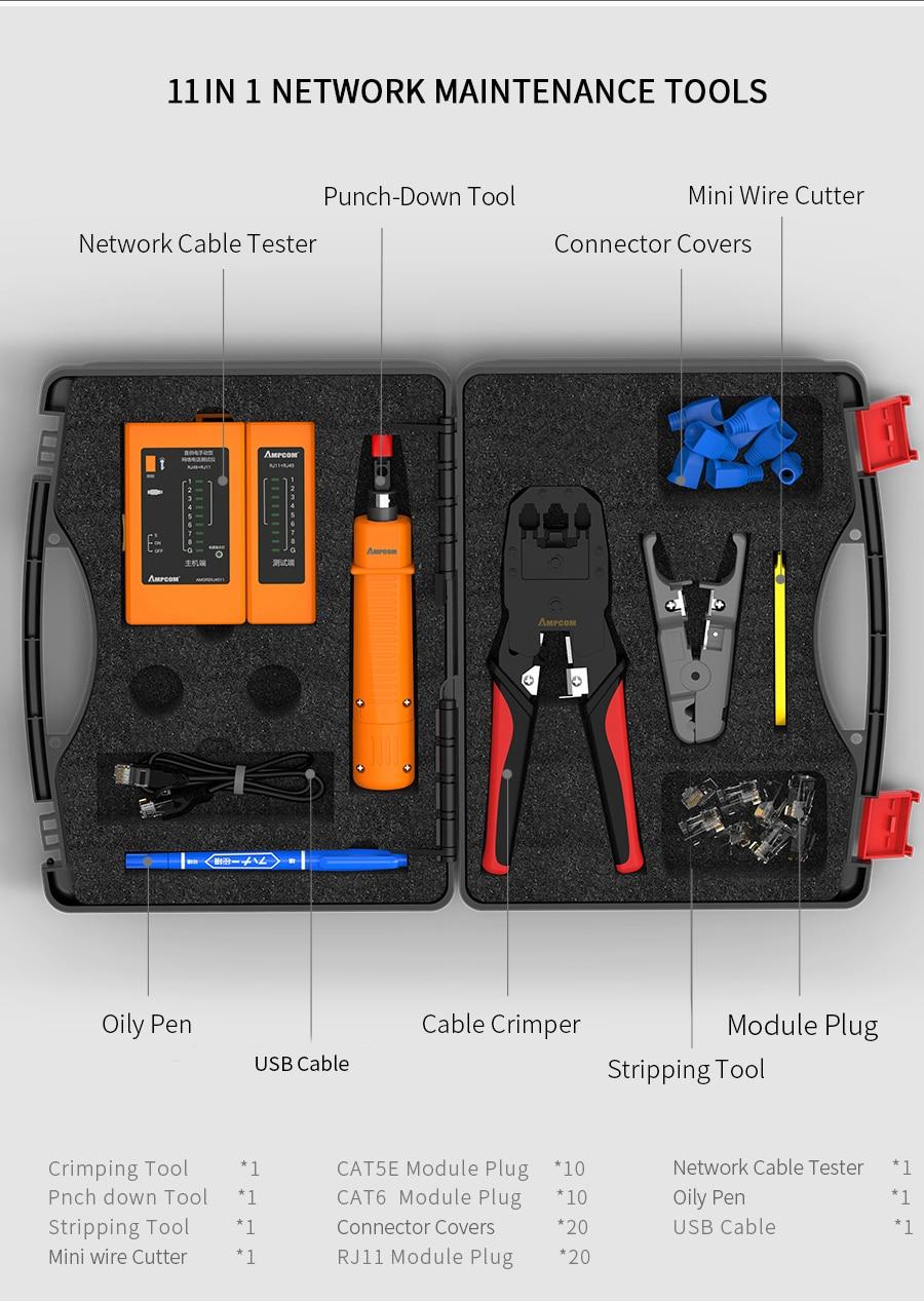 ampcom 11 em 1 profissional portátil ethernet
