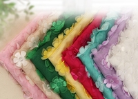 Multicolor 3D Flower Chiffon 130cm Double Layer Embroidered DIY Wedding Dress Clothing Accessories Lace Fabrics RS610