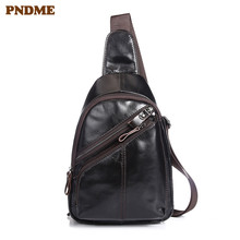 PNDME genuine leather mens chest bag retro casual teenagers shoulder first layer fashion sports messenger bags