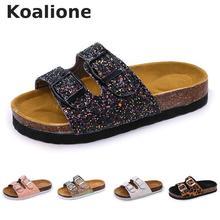 Летняя пляжная обувь; детские шлепанцы для девочек; пробковые сандалии; блестящая обувь для родителей и детей; босоножки с леопардовым принтом; высокое качество