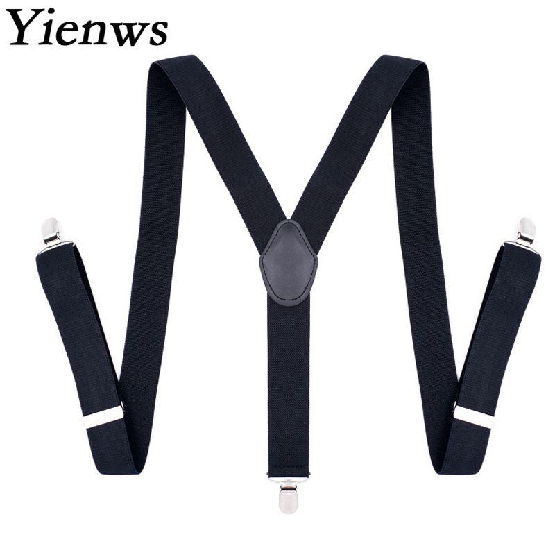 Yienws Mens Braces Suspenders Y-sharp Suspensorio Masculino 3.5*120cm Black Suspenders for Men Braces for Trousers YiA064
