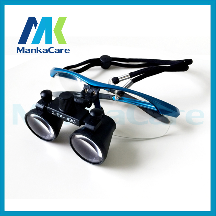 2.5X time Dental Surgical Binocular Loupes Magnifier Glasses 100% original surgical optical glass Blue color Free Shipping