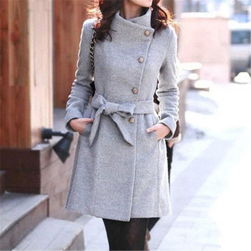 Belt Coat Slim Elegant Women Long Fashion Clothing Casual New Toyouth Streetwear Wool