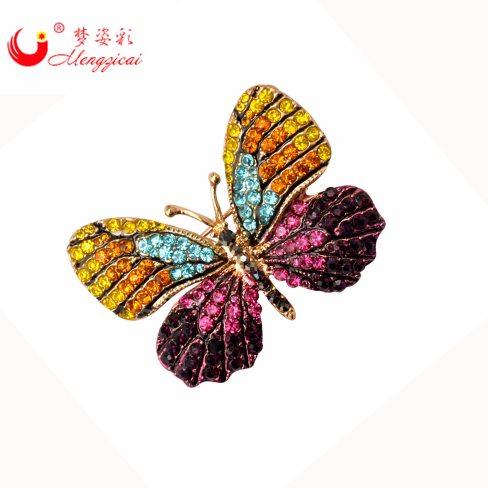 Sparkling Luxury Colourful Butterfly Sagės Pins Mujer Strass Kalnų krištolas Brosh Brosche Moterų suknelė vestuvių vestuvių sagės PIN