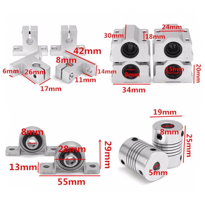 DANIU 15 шт 400 мм CNC части стали оптические оси Направляющие подшипники корпуса рельсовый вал Поддержка свинцовых винтов стержень слайд набор в...