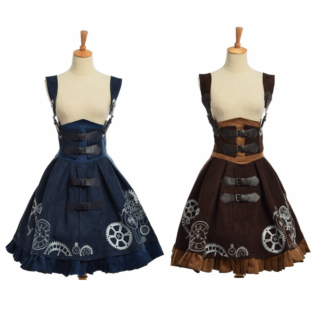 Elegant Gothic Steampunk Dress Vintage Women Victorian Period JSK Lolita Embroidered Lace-up Corset Suspender Cosplay Costume
