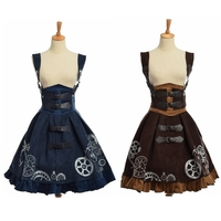 Elegant Gothic Steampunk Dress Vintage Women Victorian Period JSK Lolita Embroidered Lace up Corset Suspender Costume Cosplay
