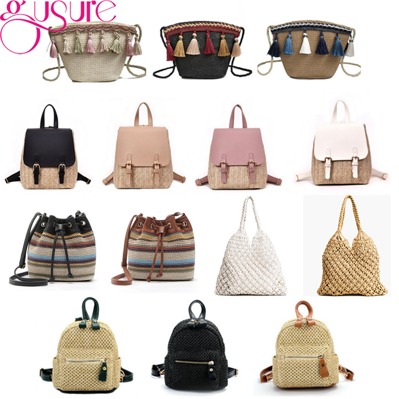 Gusure New Fashion Design Woven Straw Shoulder Bags Women Beach Holiday Travel Handbags Ladies Simple Small Totes Bucket Bags Women's Bags