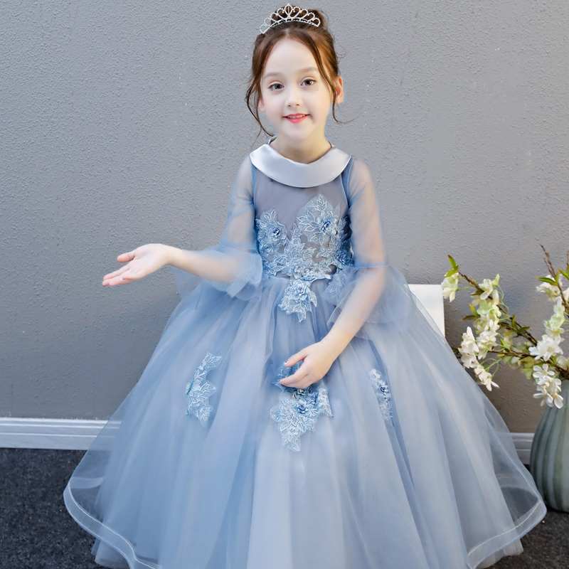 Girls Children Elegant Noble Birthday Evening Party Lace Princess Long Dress Kids Babies Model Show Piano Player Costume Dress girls birthday wedding evening party embroidery flowers lace princess dress children kids model show costume pageant long dress