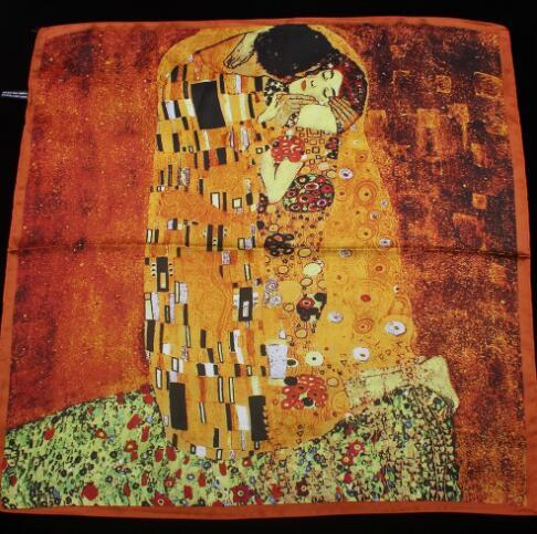 55cm*55cm 2018 New Arrival Women Klimt oil painting kiss Design silk scarf women shawls girl wraps NEW