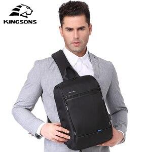Image 3 - Kingson 13 حقيبة صدر للرجال الأسود حقائب كتف واحدة مع USB شحن مقاوم للماء النايلون حقائب كروسبودي حقيبة ساع البيع