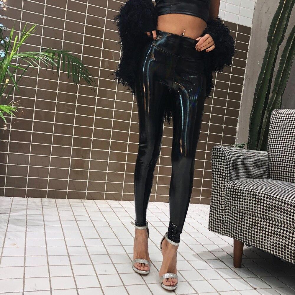 2018 printemps nouveau cuir verni brillant dégradé couleur Sexy sauvage sac de corps hanche Plus velours taille haute noir Leggings femme