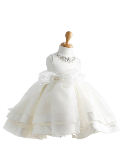 BABY WOW Baby Clothes Flower Gil Dress First Communion Dresses White Ivory Bow for Birthday Party