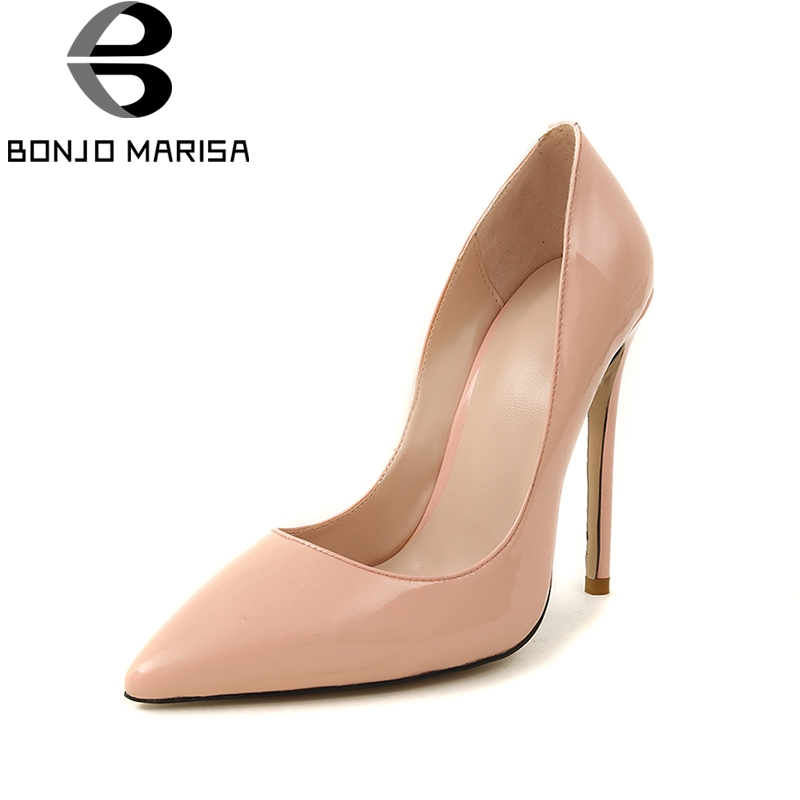 BONJOMARISA Large Size 33-43 Top Quality Genuine Leather Brand Design Summer Pumps Shoes Women Sexy Thin High Heels Shoes цена