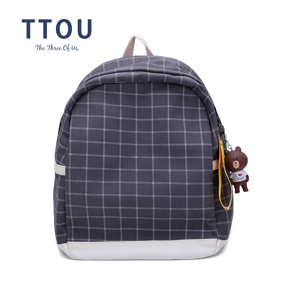 TTOU Women Canvas Plaid Backpacks Fashion Literature Female Student School Bag Women Cute Bear Pendant Soft Bakcpack ...